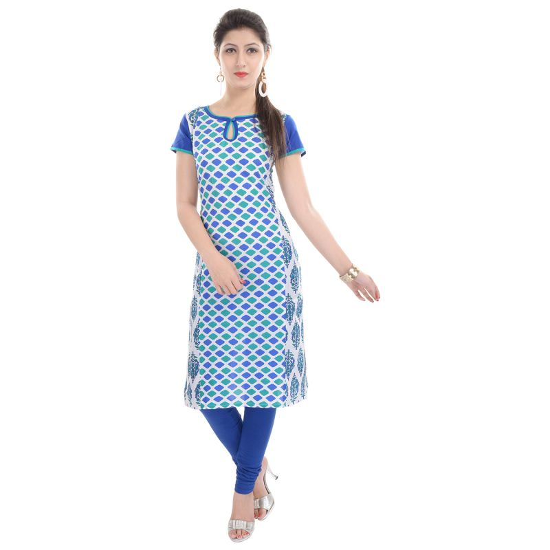 Buy Rangeelo Rajasthan Women's Jaipur Printed Straight Cotton Kurti_rar73blue online