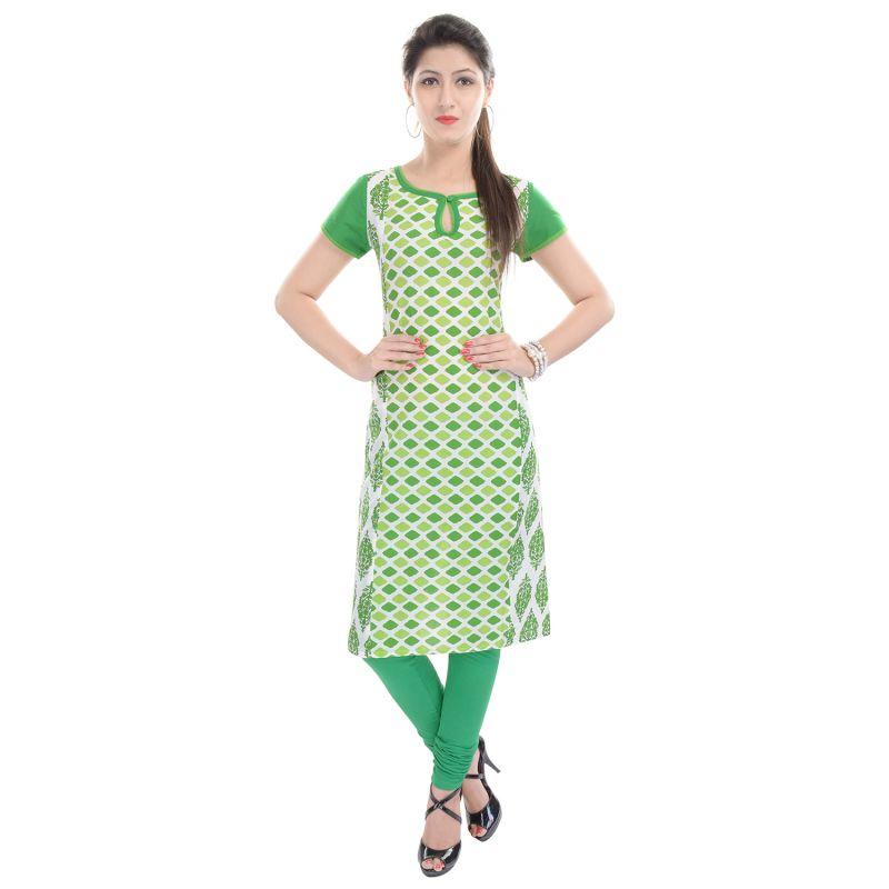 Buy Rangeelo Rajasthan Women's Jaipur Printed Straight Cotton Kurti_rar73green online