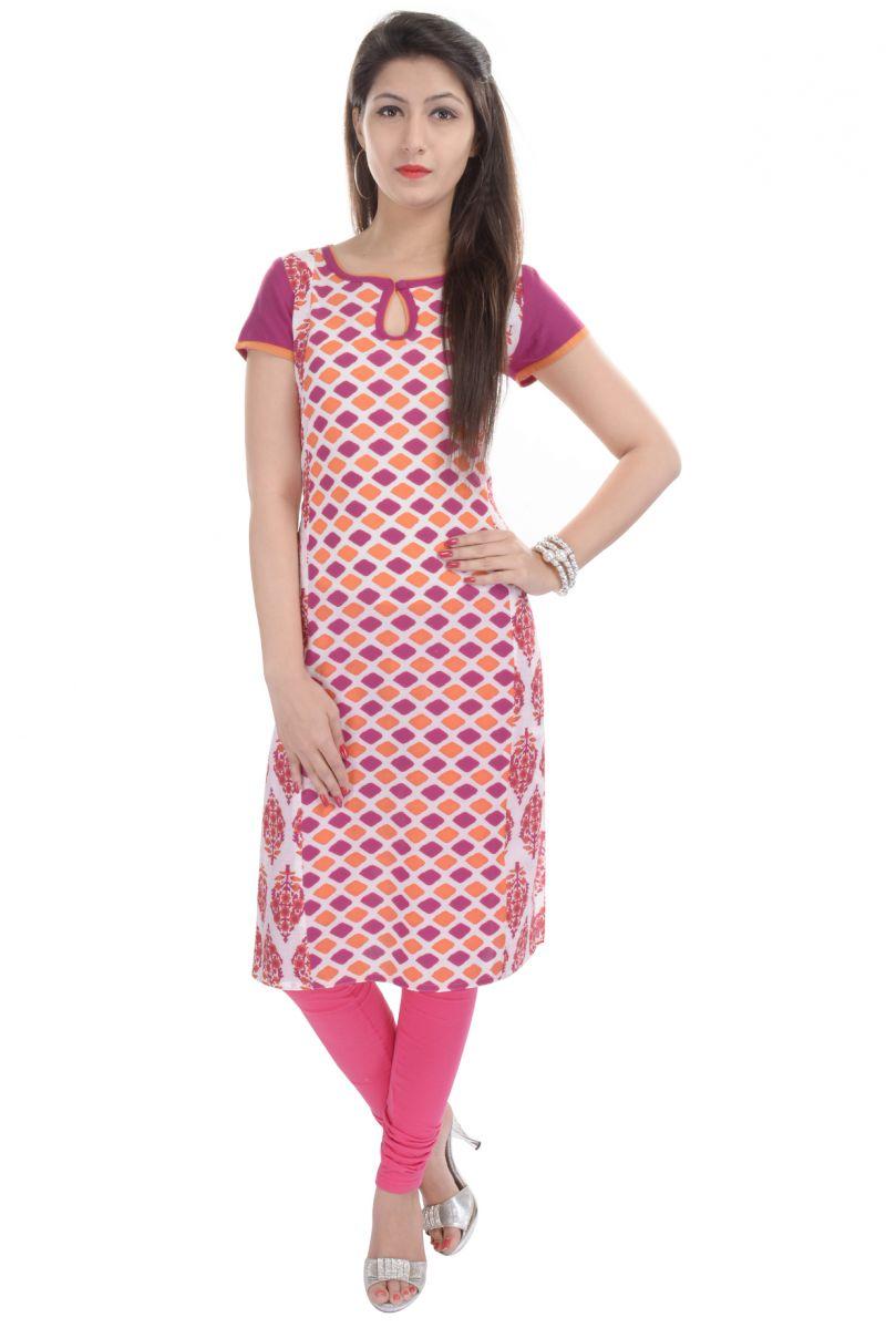Buy Rangeelo Rajasthan Women's Jaipur Printed Straight Cotton Kurti_rar73pink online