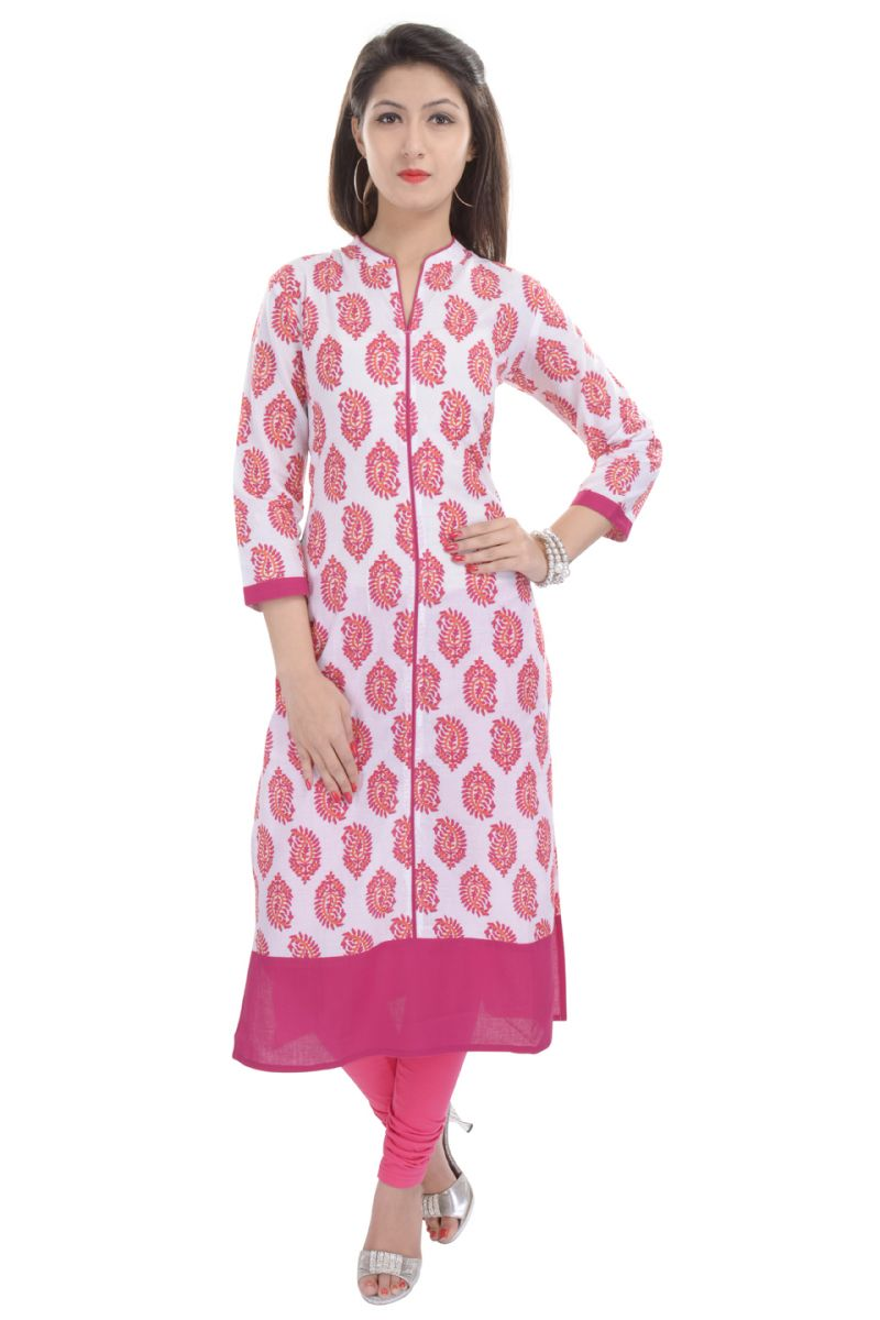 Buy Rangeelo Rajasthan Women's Jaipur Printed Straight Cotton Kurti_rar85pink online