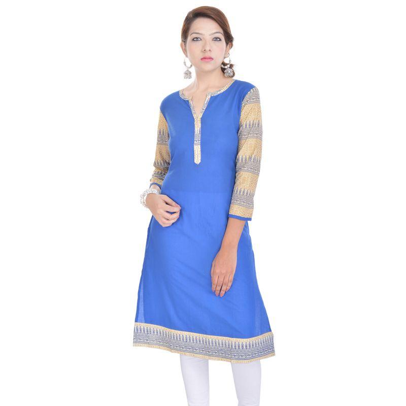 Buy Rangeelo Rajasthan Women's Jaipur Printed Straight Cotton Kurti_rar9009blue online