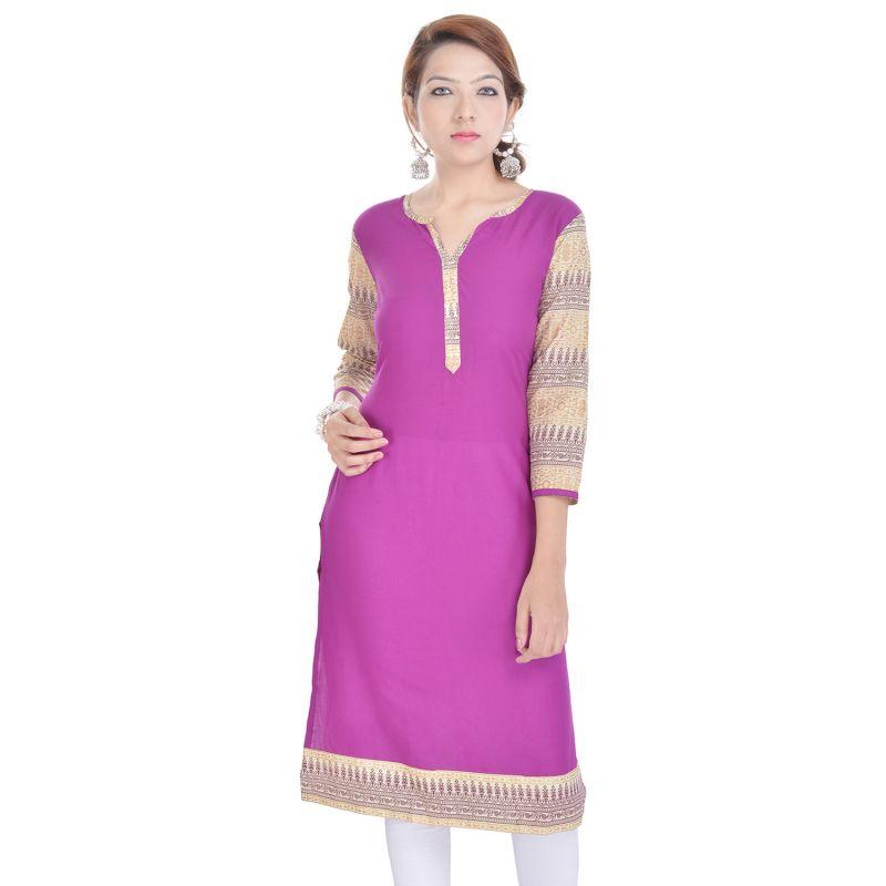 Buy Rangeelo Rajasthan Women's Jaipur Printed Straight Cotton Kurti_rar9009purple online