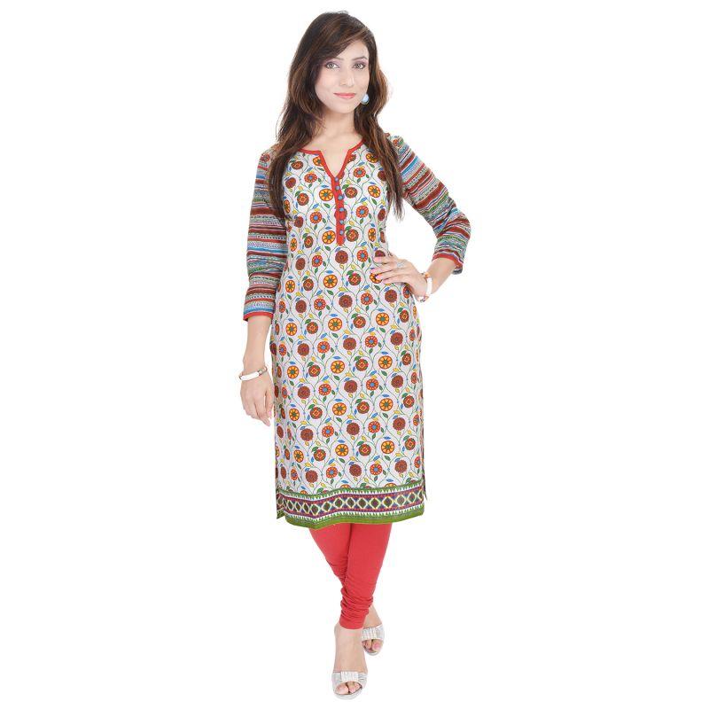 Buy Rangeelo Rajasthan Women's Jaipur Printed Straight Cotton Kurti_rar9015red online