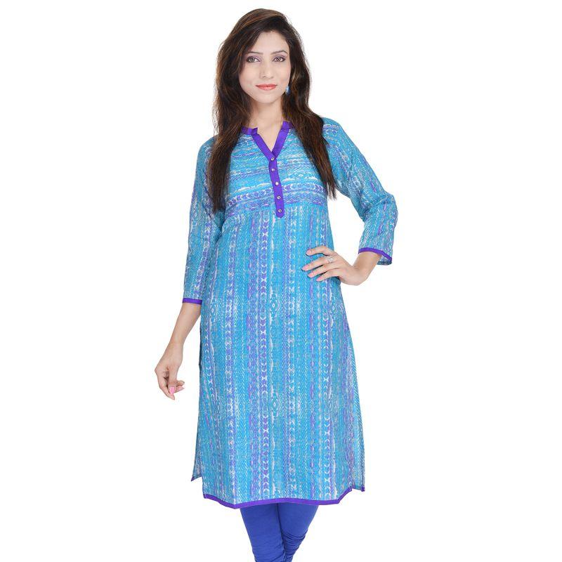 Buy Rangeelo Rajasthan Women's Jaipur Printed Straight Cotton Kurti_rar9017blue online