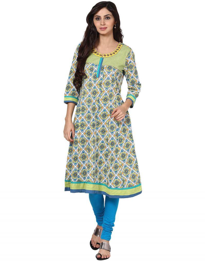 Buy Prakhya Jaipur Printed Womens Long Anarkali Blue Cotton Kurti (code - Sw519blue) online