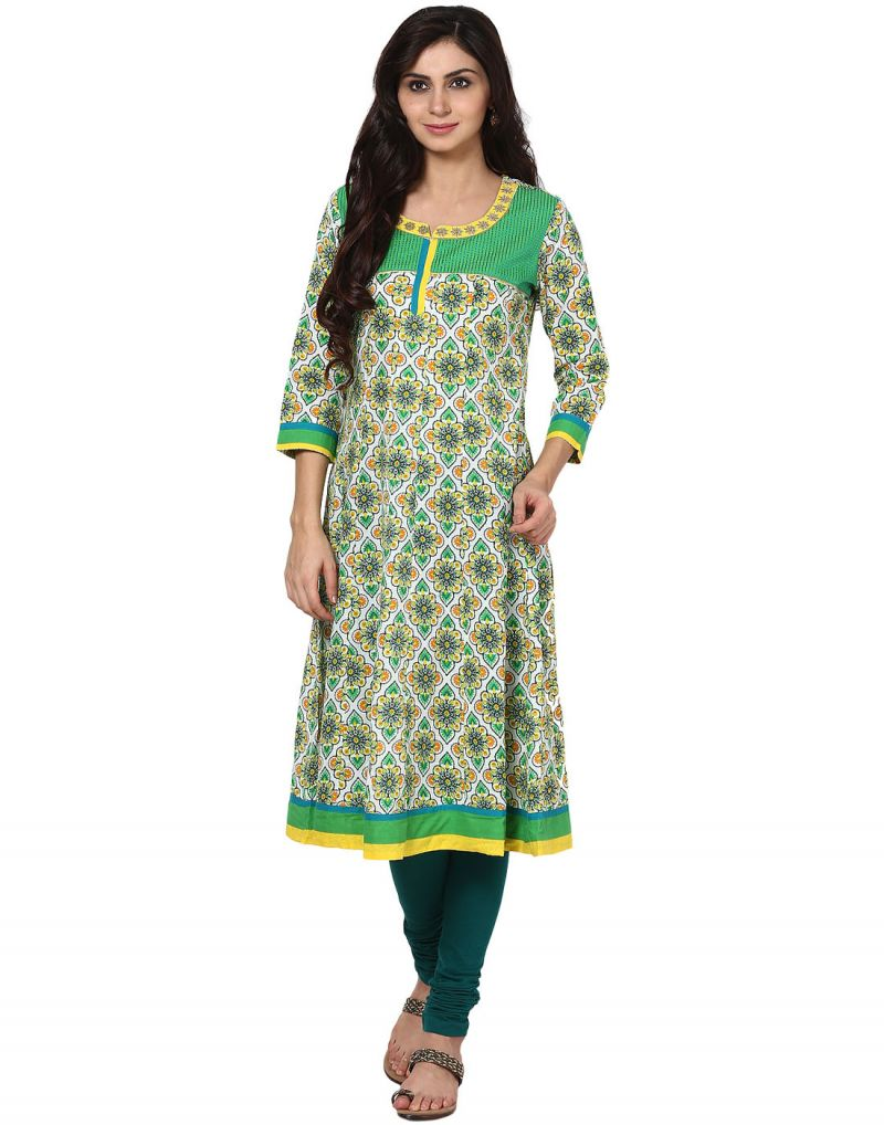 Buy Prakhya Jaipur Printed Womens Long Anarkali Green Cotton Kurti (code - Sw519green) online