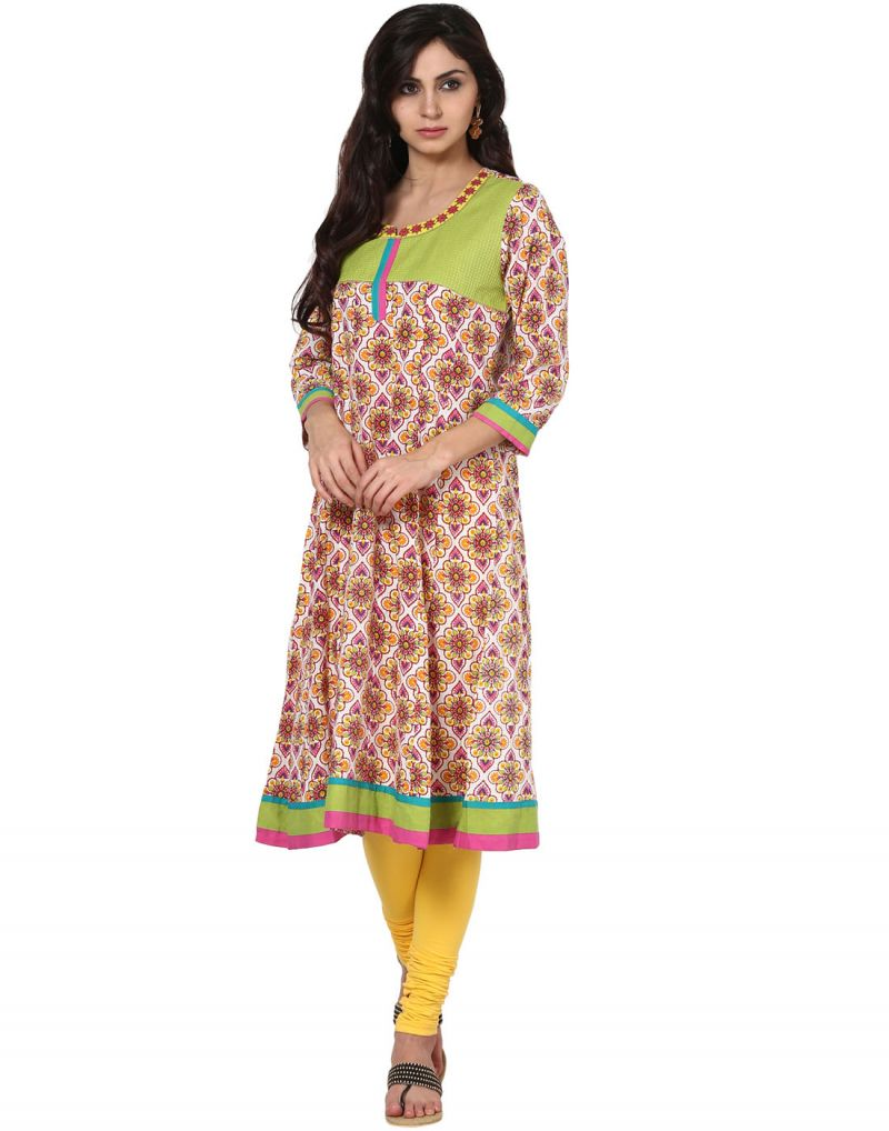 Buy Prakhya Jaipur Printed Womens Long Anarkali Pink Cotton Kurti (code - Sw519pink) online