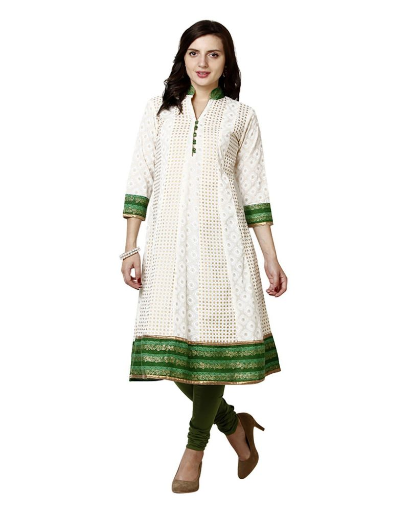 Buy Prakhya Jaipur Printed Womens Long Anarkali Green Cotton Kurti online