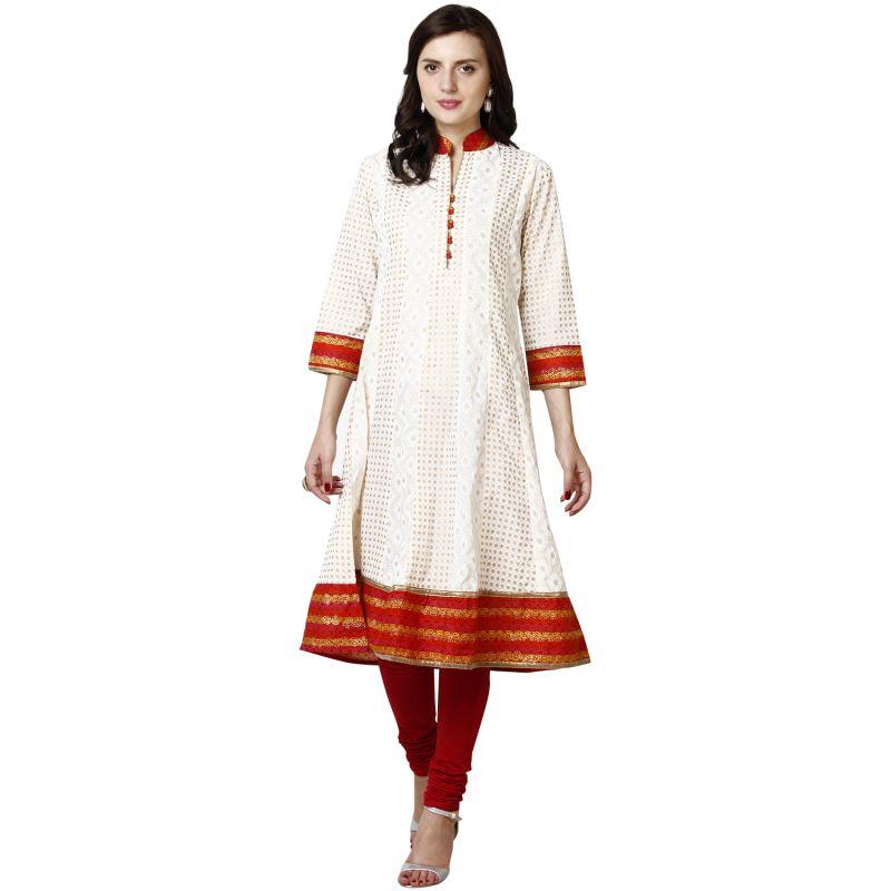 Buy Prakhya Jaipur Printed Womens Long Anarkali Red Cotton Kurti (code - Sw567red) online
