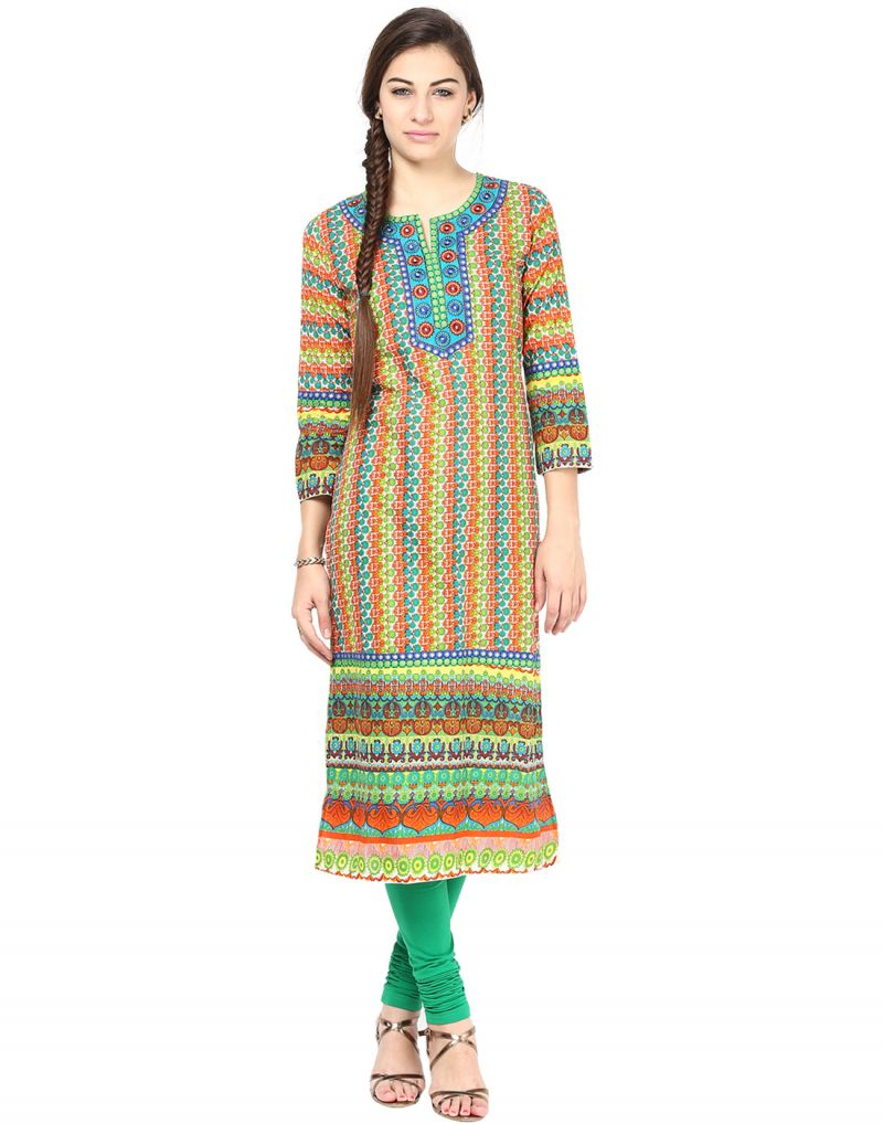 Buy Prakhya Jaipur Printed Womens Long Straight Green Cotton Kurti (code - Sw595green) online