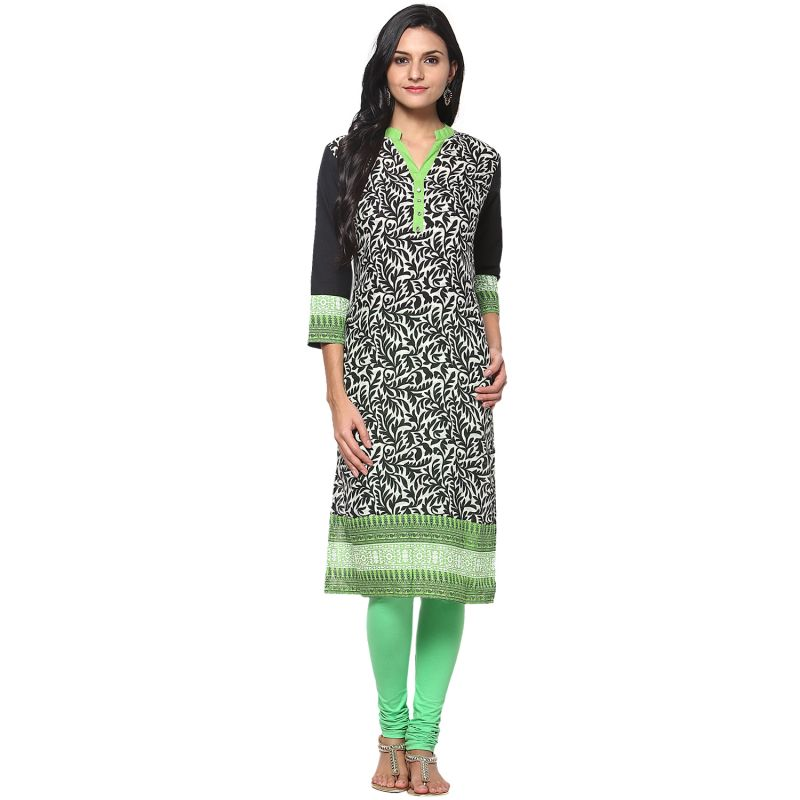 Buy Prakhya Jaipur Printed Womens Long Straight Black-Green Cotton Kurti online