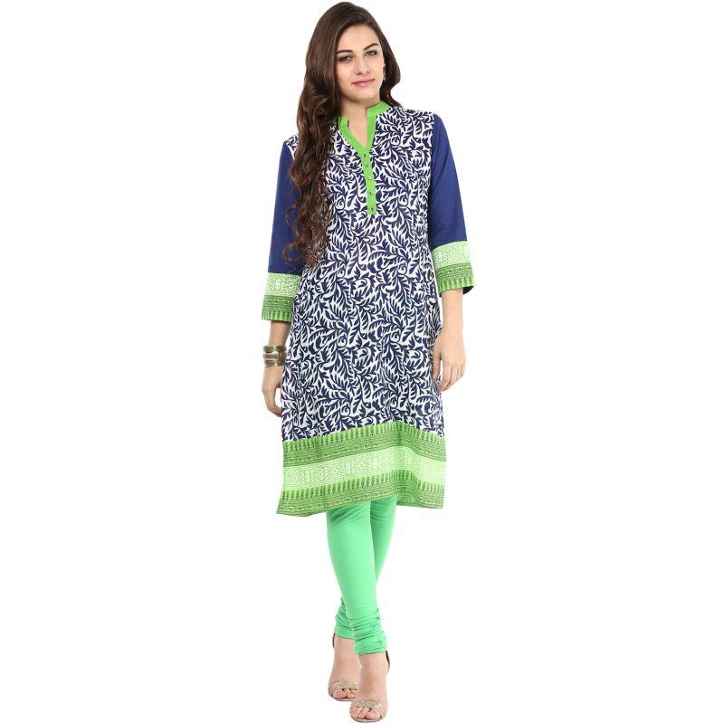 Buy Prakhya Jaipur Printed Womens Long Straight Green Cotton Kurti (code - Sw659green) online