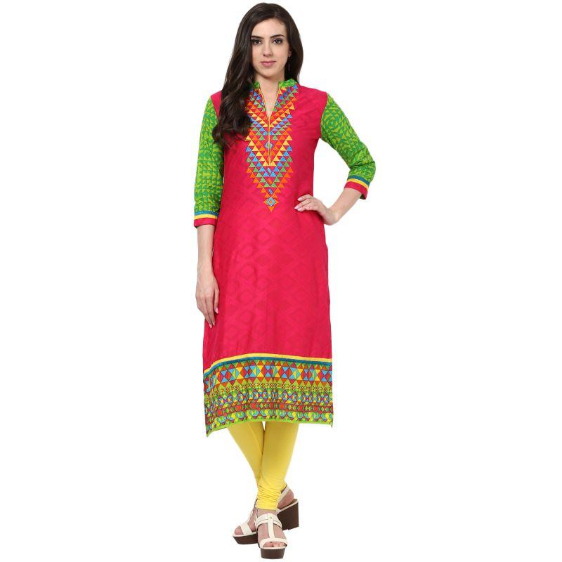 Buy Prakhya Jaipur Printed Womens Long Straight Pink Cotton Kurti (code - Sw668pink) online