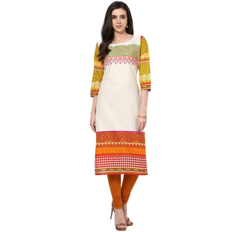 Buy Prakhya Jaipur Embroidered Womens Long Straight Orange Cotton Kurti (code - Sw672orange) online