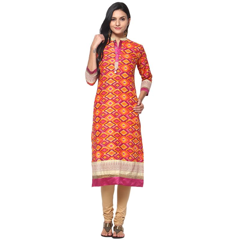 Buy Prakhya Jaipur Printed Womens Long Straight Pink Cotton Kurti (code - Sw699pink) online