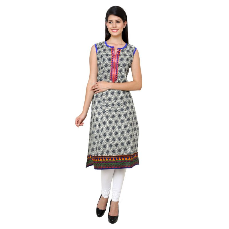 Buy Prakhya Jaipur Printed Womens Long Straight Blue Cotton Kurti (code - Sw728blue) online