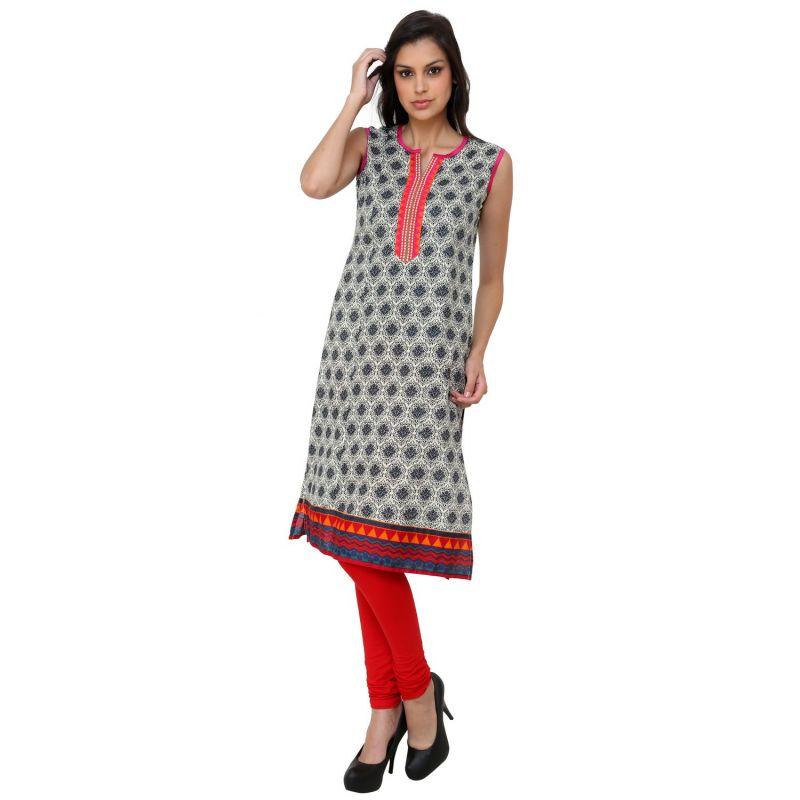 Buy Prakhya Jaipur Printed Womens Long Straight Pink Cotton Kurti (code - Sw728pink) online