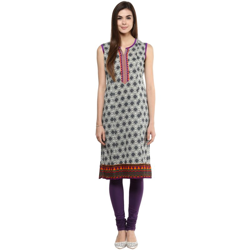 Buy Prakhya Jaipur Printed Womens Long Straight Purple Cotton Kurti (code - Sw728purple) online