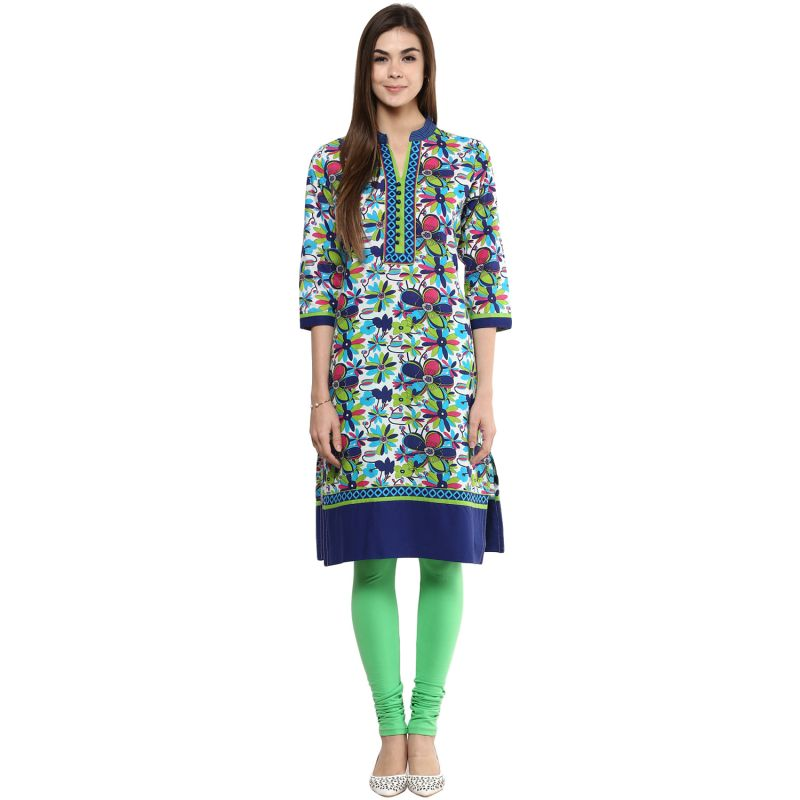 Buy Prakhya Jaipur Printed Womens Long Straight Blue Cotton Kurti (code - Sw732blue) online