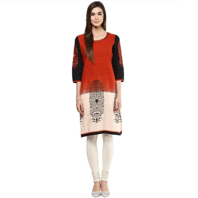 Buy Prakhya Jaipur Printed Womens Long Straight Red Cotton Kurti (code - Sw752red) online