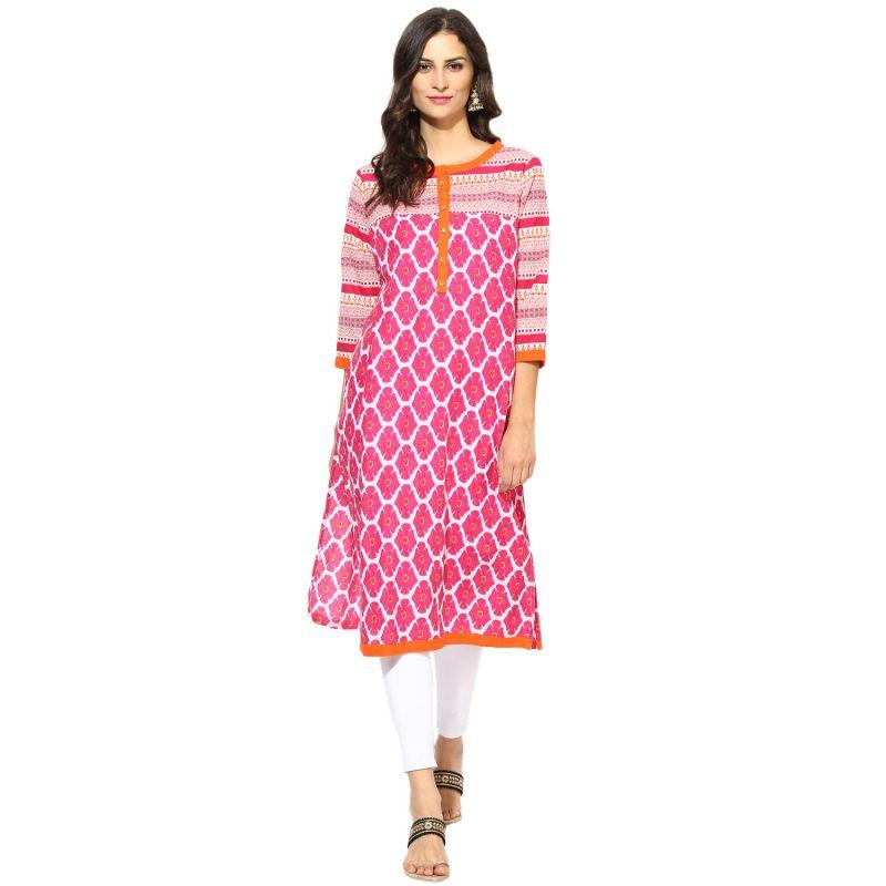 Buy Prakhya Jaipur Printed Womens Long Straight Pink Cotton Kurti (code - Sw753pink) online
