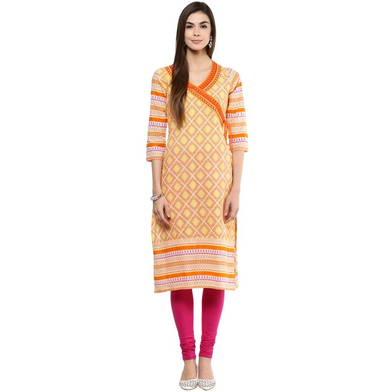 Buy Prakhya Jaipur Printed Womens Long Straight Yellow Cotton Kurti (code - Sw754yellow) online