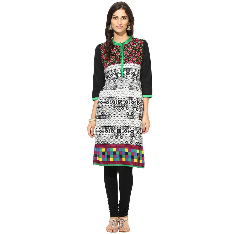 Buy Prakhya Jaipur Printed Womens Long Straight Green Cotton Kurti (code - Sw755green) online