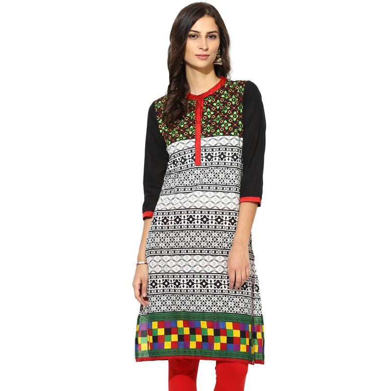 Buy Prakhya Jaipur Printed Womens Long Straight Red Cotton Kurti online