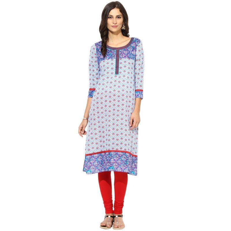 Buy Prakhya Jaipur Printed Womens Long Straight Blue Cotton Kurti (code - Sw756blue) online