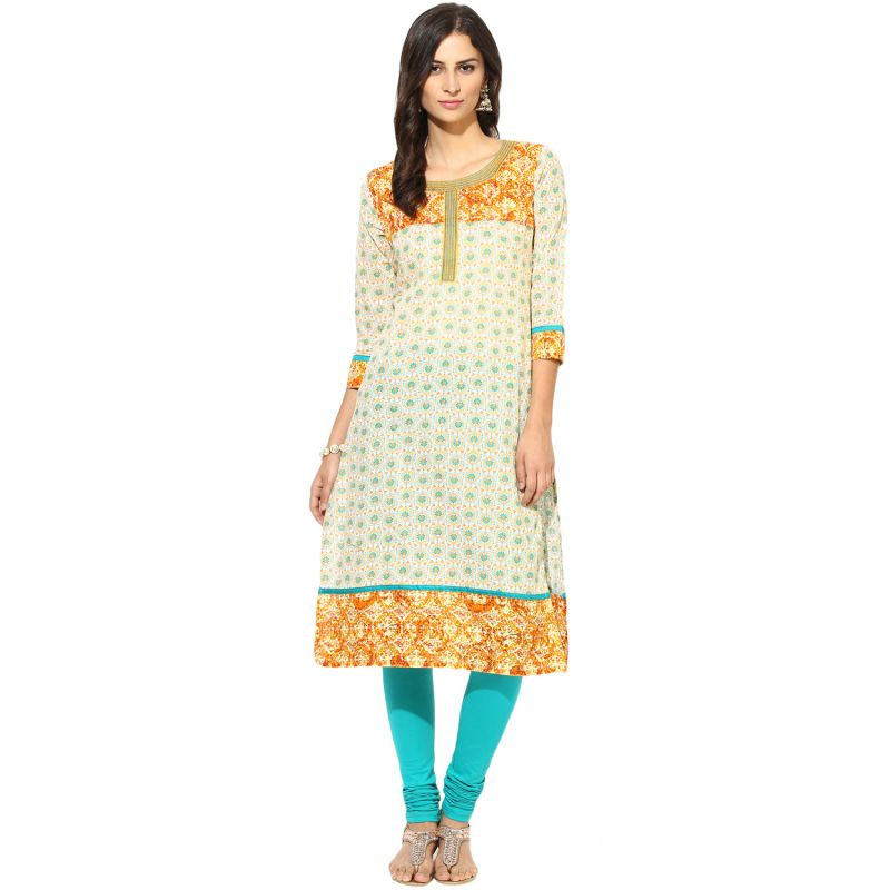 Buy Prakhya Jaipur Printed Womens Long Straight Yellow Cotton Kurti (code - Sw756yellow) online