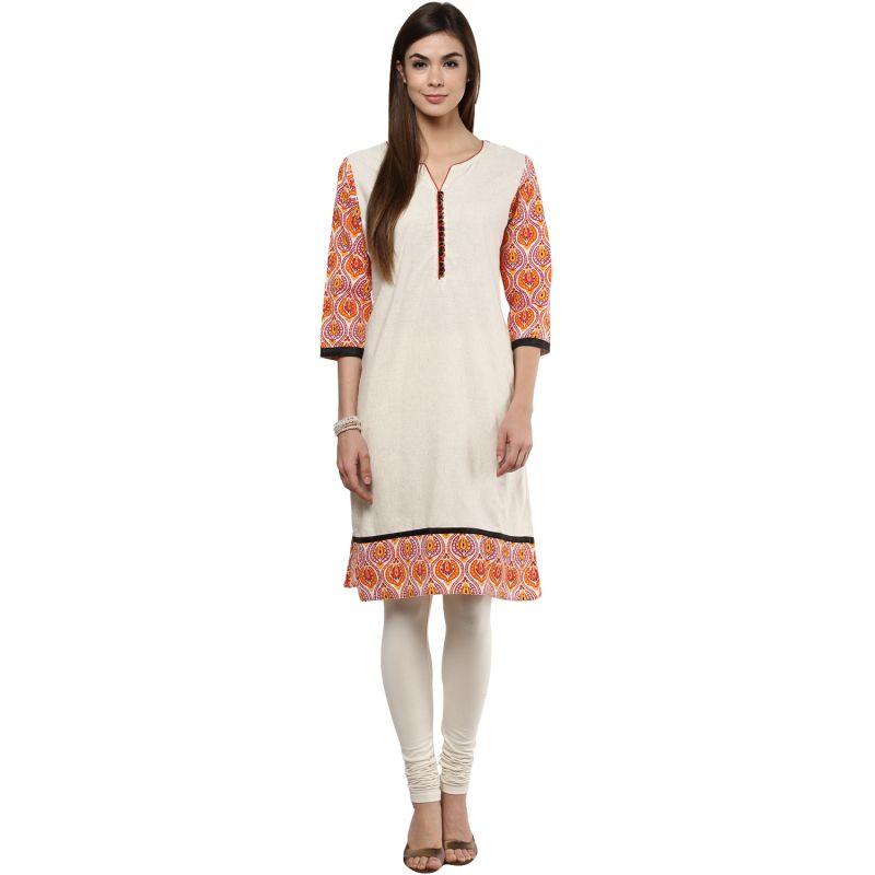 Buy Prakhya Jaipur Printed Womens Long Straight Orange Cotton Kurti (code - Sw763orange) online