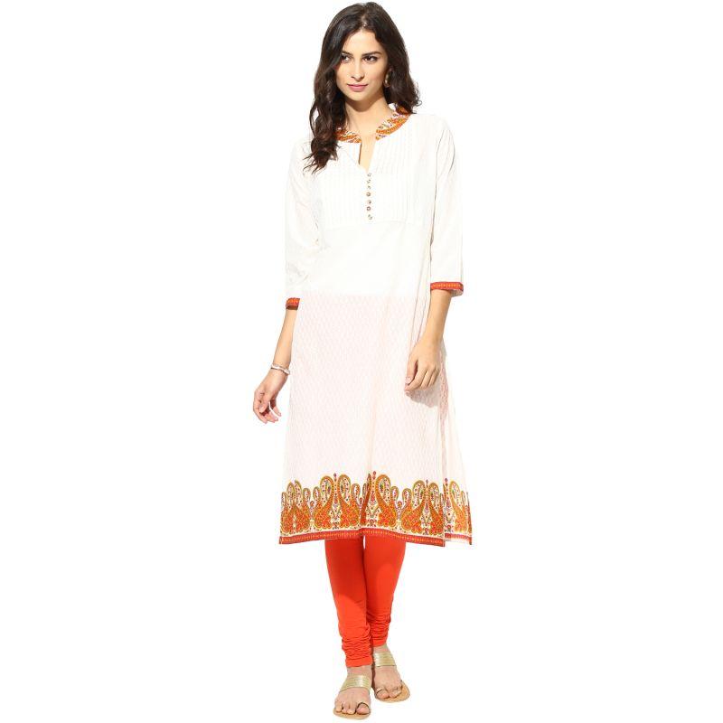 Buy Prakhya Jaipur Printed Womens Long Straight Orange Cotton Kurti (code - Sw764orange) online