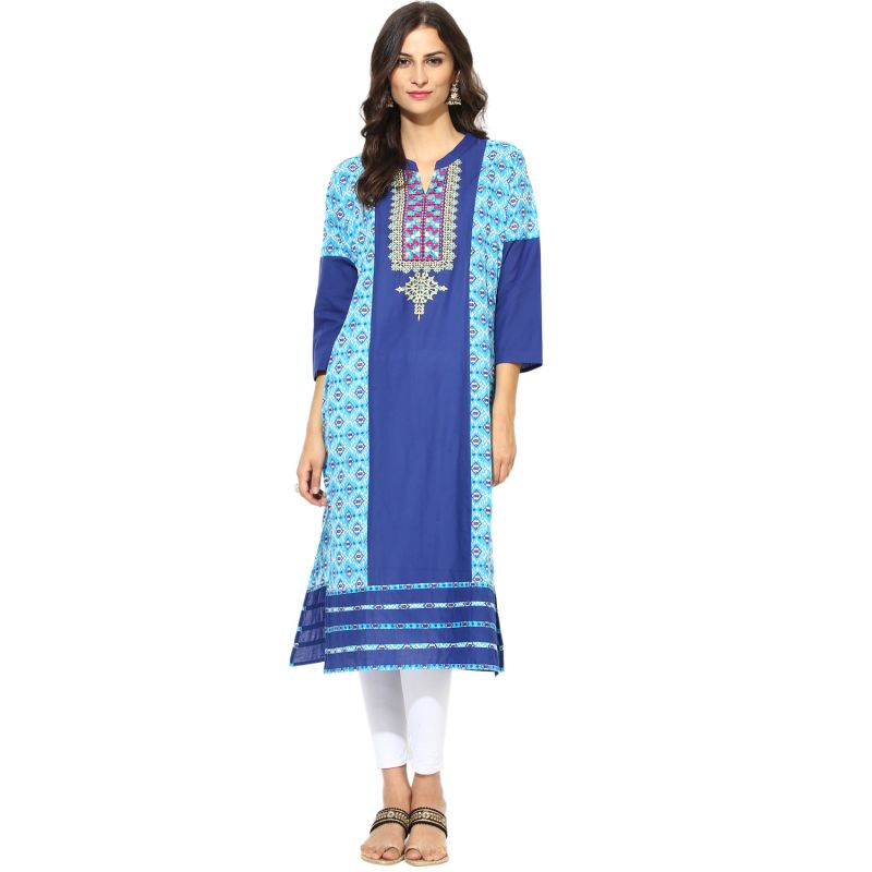 Buy Prakhya Jaipur Embroidered Womens Long Straight Blue Cotton Kurti (code - Sw765blue) online