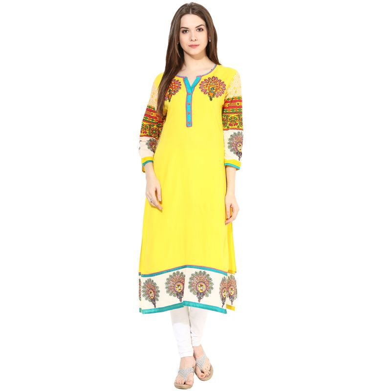 Buy Prakhya Embroidered WoMen's Long Straight Rayon Kurta online