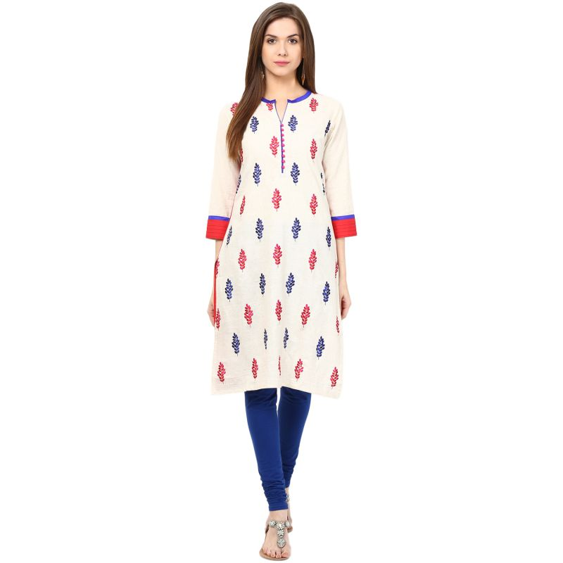 Buy Prakhya Jaipur Embroidered Womens Long Straight Red Cotton Kurti online