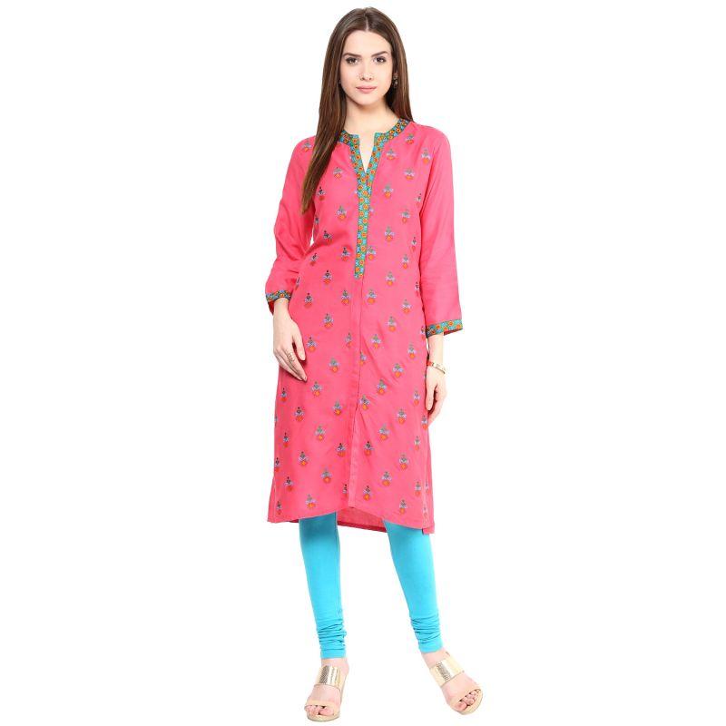 Buy Prakhya Jaipur Embroidered Womens Long Straight Rayon Kurti (code - Sw830pink) online
