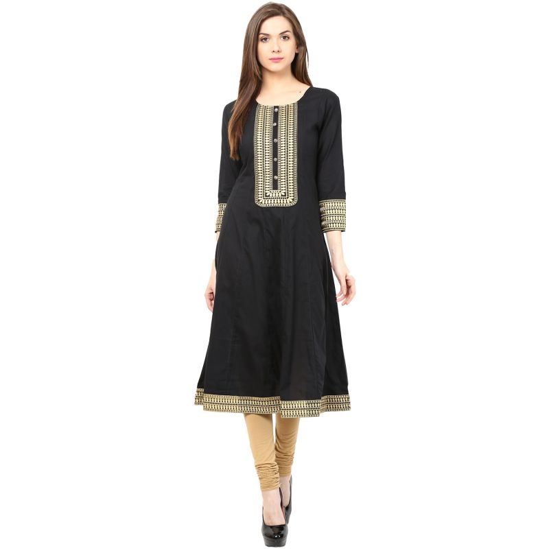 Buy Prakhya Jaipur Embroidered Womens Long A-line Black Cotton Kurti (code - Sw832black) online