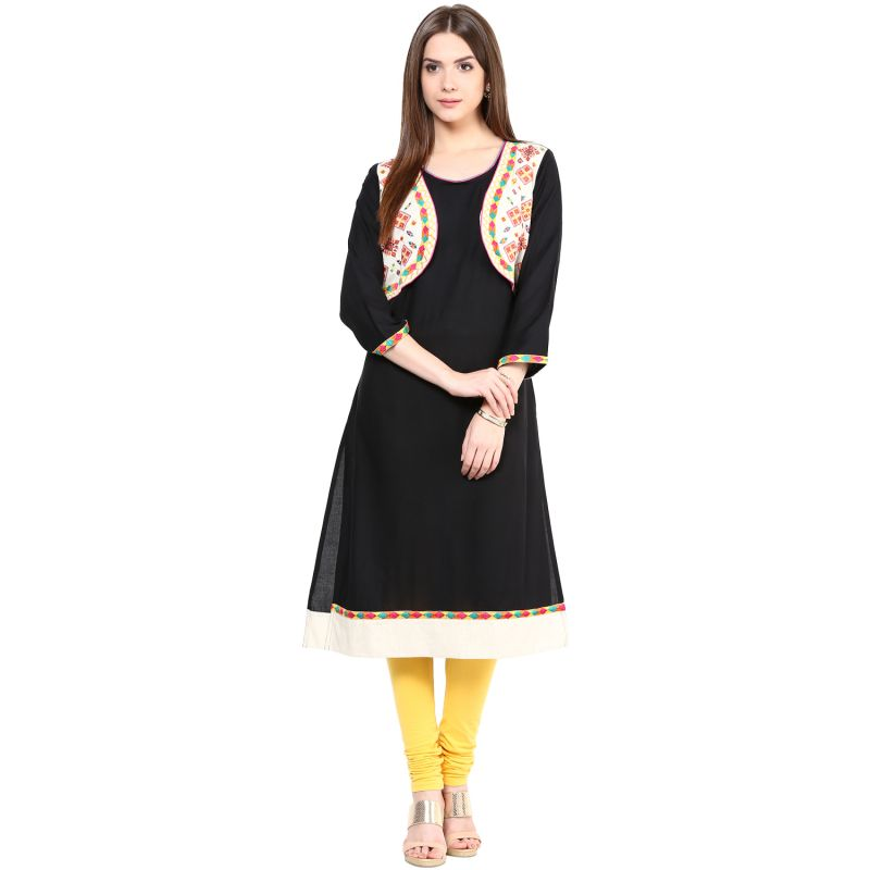 Buy Prakhya Jaipur Solid Womens Long A-line Black Flex Kurti (code - Sw834black) online