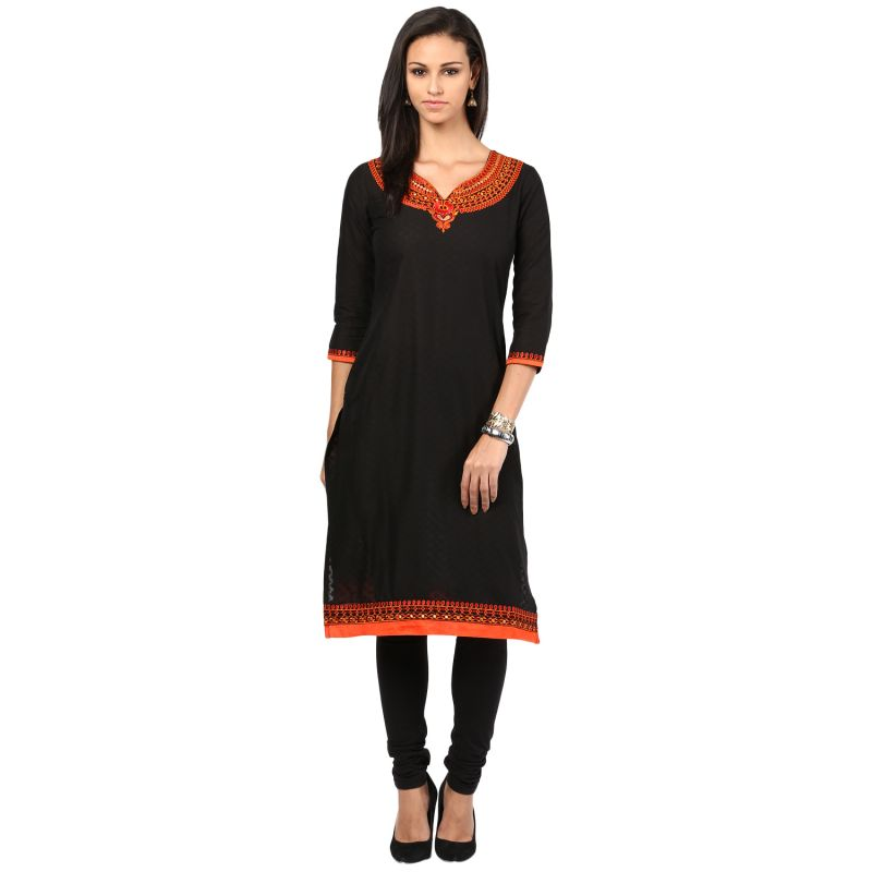 Buy Prakhya Jaipur Embroidered Womens Long Straight Rayon Kurti (code - Sw835black) online