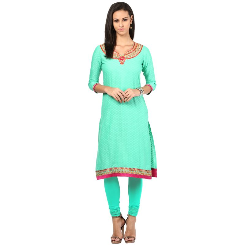 Buy Prakhya Jaipur Embroidered Womens Long Straight Rayon Kurti (code - Sw835green) online