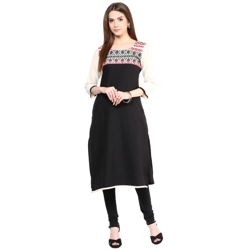 Buy Prakhya Jaipur Embroidered Womens Long Straight Red Flex Kurti online