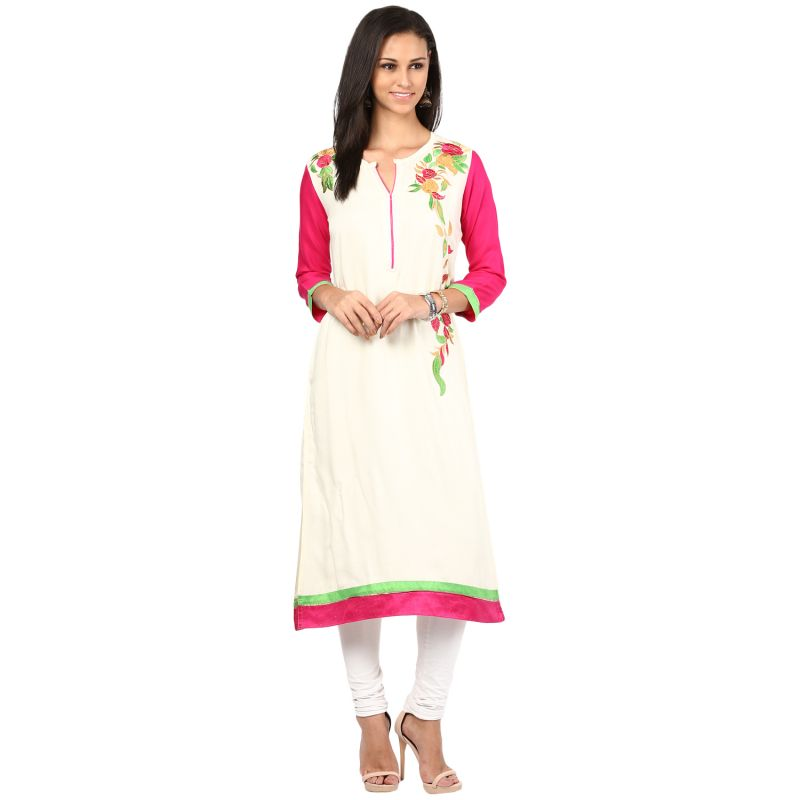 Buy Prakhya Jaipur Embroidered Womens Long Straight Rayon Kurti (code - Sw837white) online