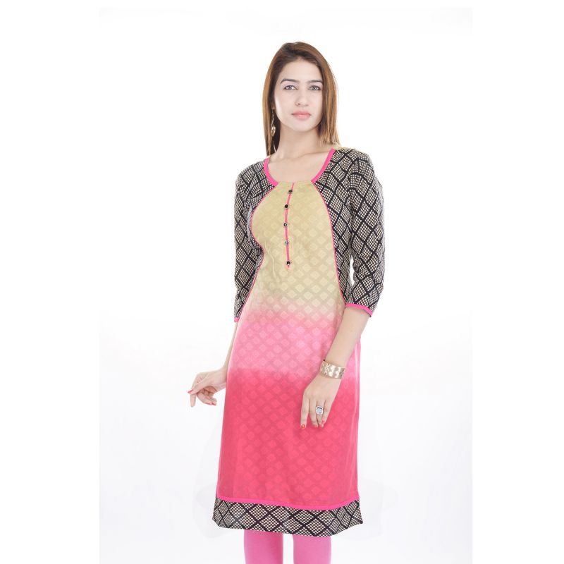 Buy Prakhya Jaipur Printed Womens Long Straight Jacquard Kurti online