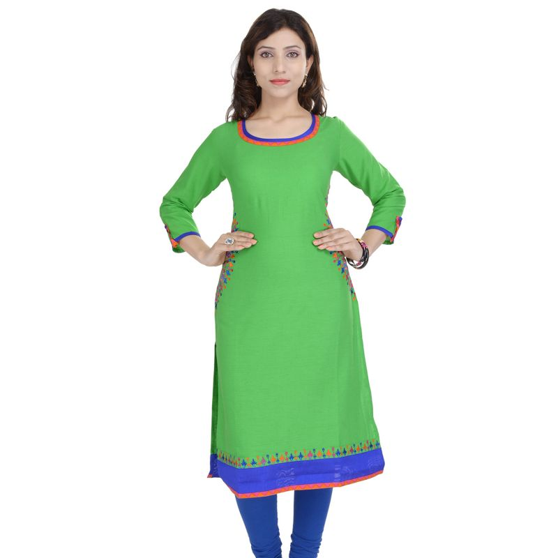 Buy Prakhya Jaipur Solid Womens Long Straight Rayon Kurti (code - Sw840green) online