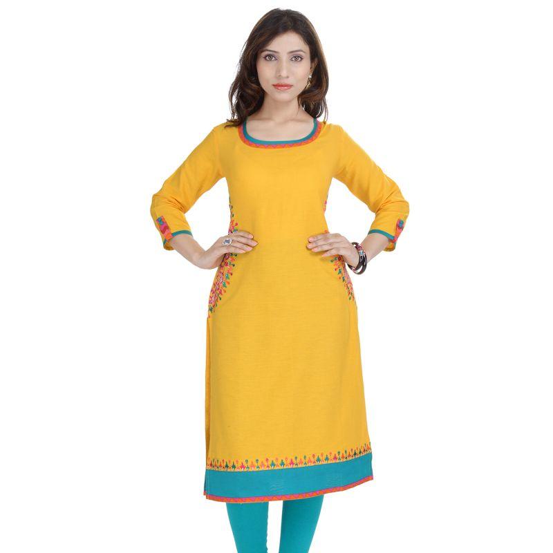 Buy Prakhya Jaipur Solid Womens Long Straight Rayon Kurti (code - Sw840yellow) online