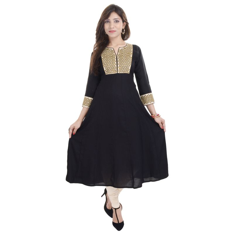 Buy Prakhya Jaipur Embroidered Womens Long A-line Black Rayon Kurti (code - Sw841black) online