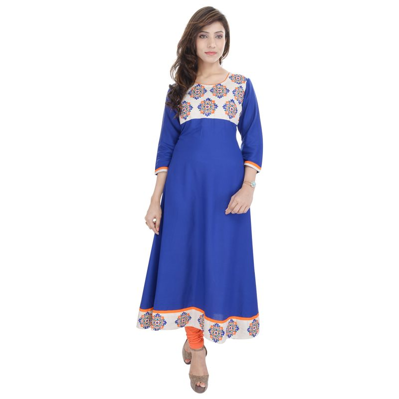 Buy Prakhya Jaipur Embroidered Womens Long Anarkali Blue Rayon Kurti (code - Sw842blue) online