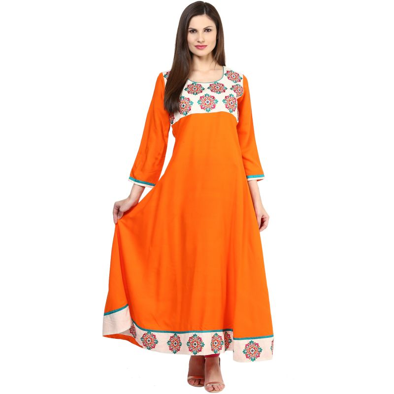 Buy Prakhya Jaipur Embroidered Womens Long Anarkali Orange Rayon Kurti (code - Sw842orange) online