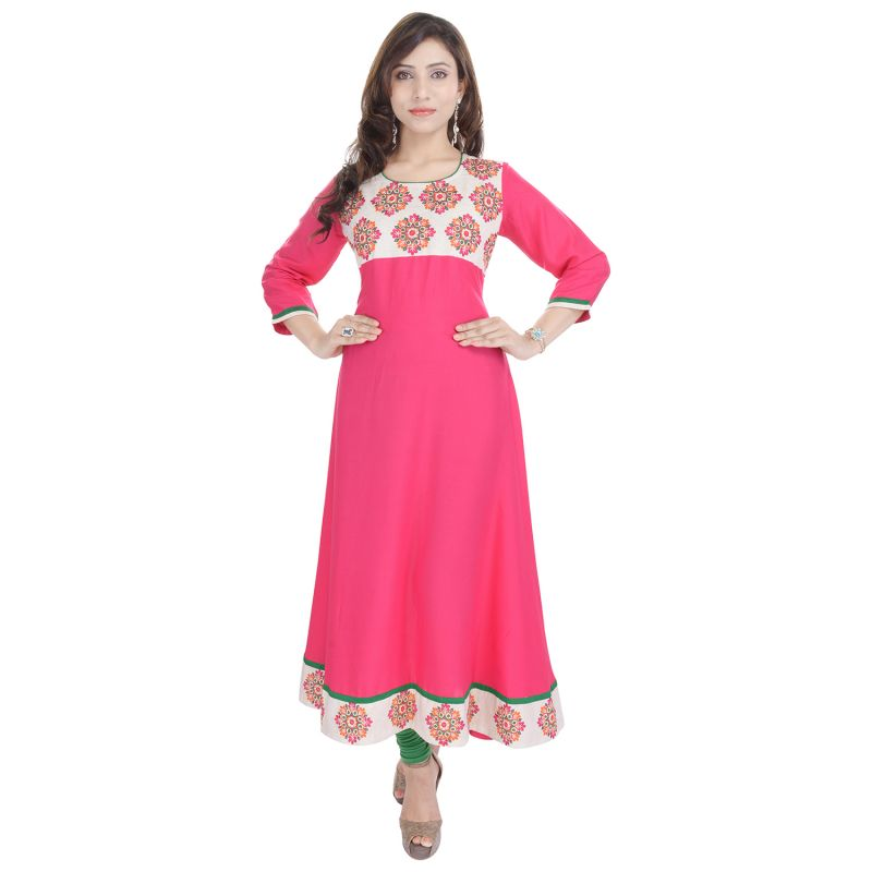 Buy Prakhya Jaipur Embroidered Womens Long Anarkali Pink Rayon Kurti online