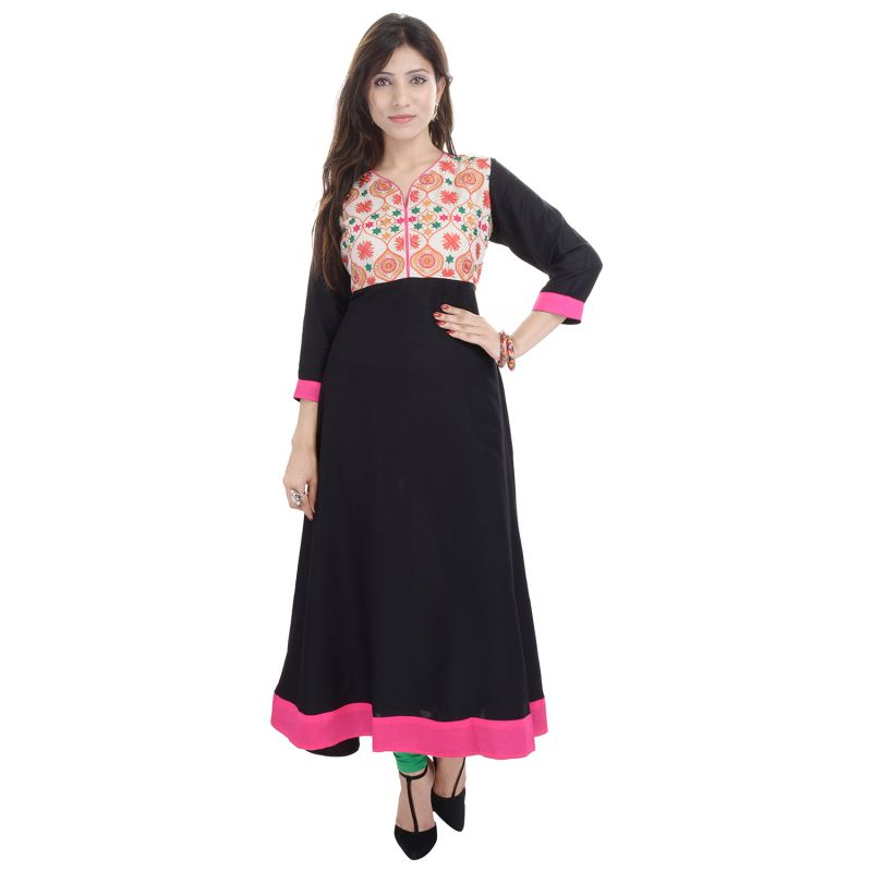 Buy Prakhya Jaipur Embroidered Womens Long A-Line Black Rayon Kurti online